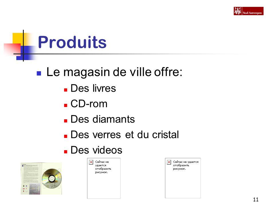 11 Produits Le magasin de ville offre: Des livres CD-rom Des diamants Des verres et du cristal Des videos