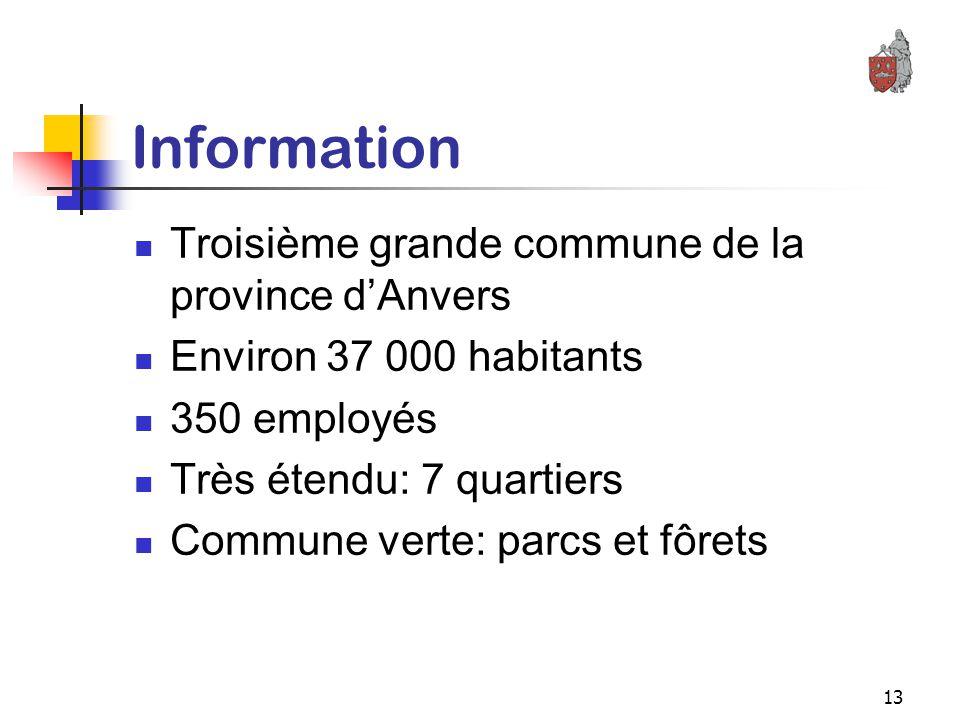 13 Information Troisième grande commune de la province d'Anvers Environ 37 000 habitants 350 employés Très étendu: 7 quartiers Commune verte: parcs et