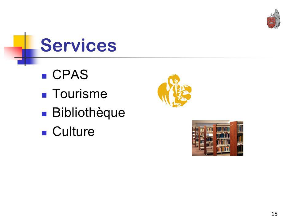 15 Services CPAS Tourisme Bibliothèque Culture