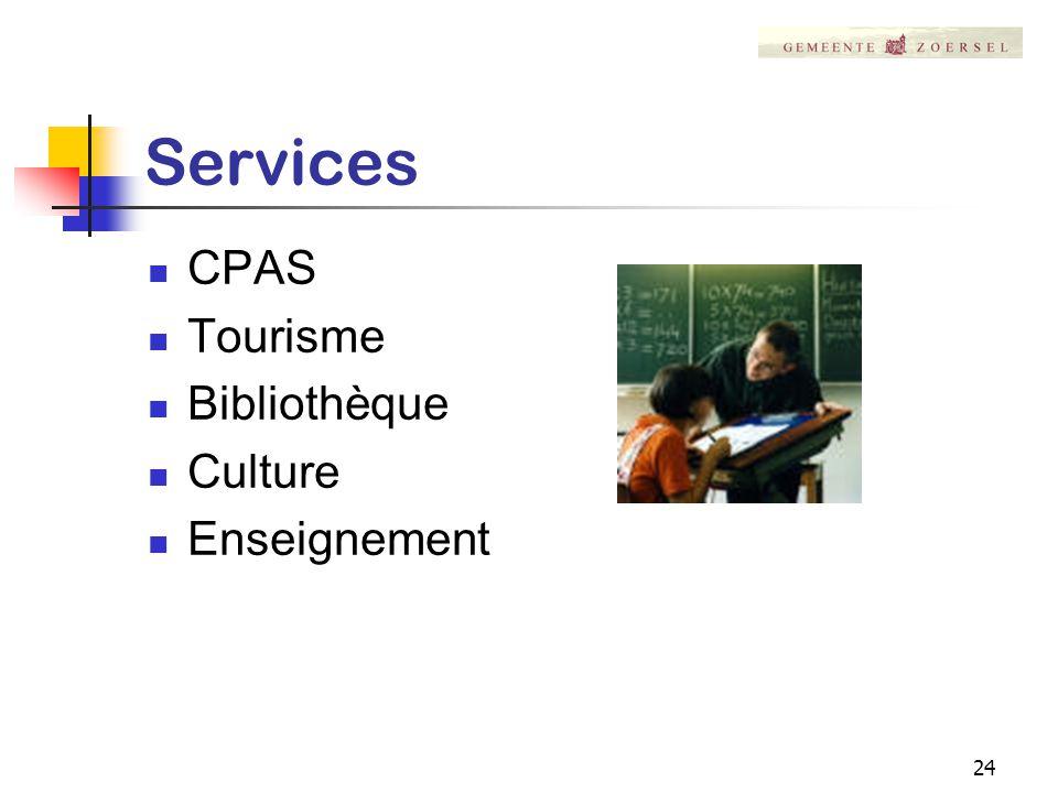 24 Services CPAS Tourisme Bibliothèque Culture Enseignement