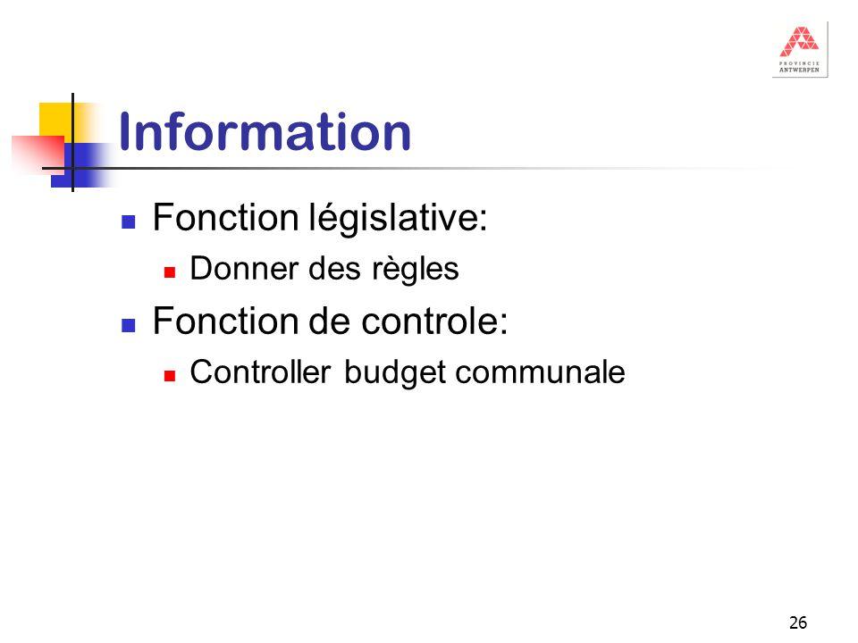 26 Information Fonction législative: Donner des règles Fonction de controle: Controller budget communale