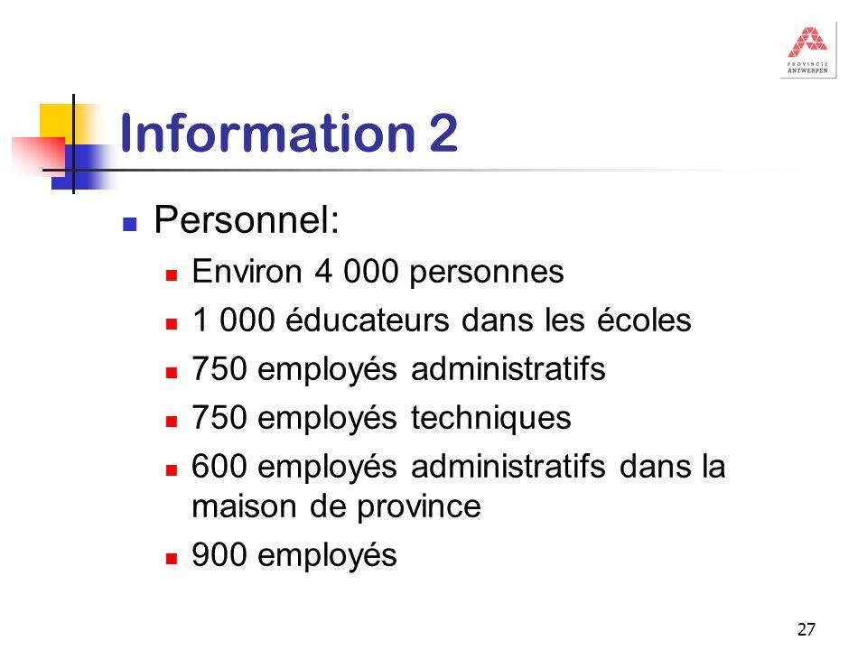 27 Information 2 Personnel: Environ 4 000 personnes 1 000 éducateurs dans les écoles 750 employés administratifs 750 employés techniques 600 employés