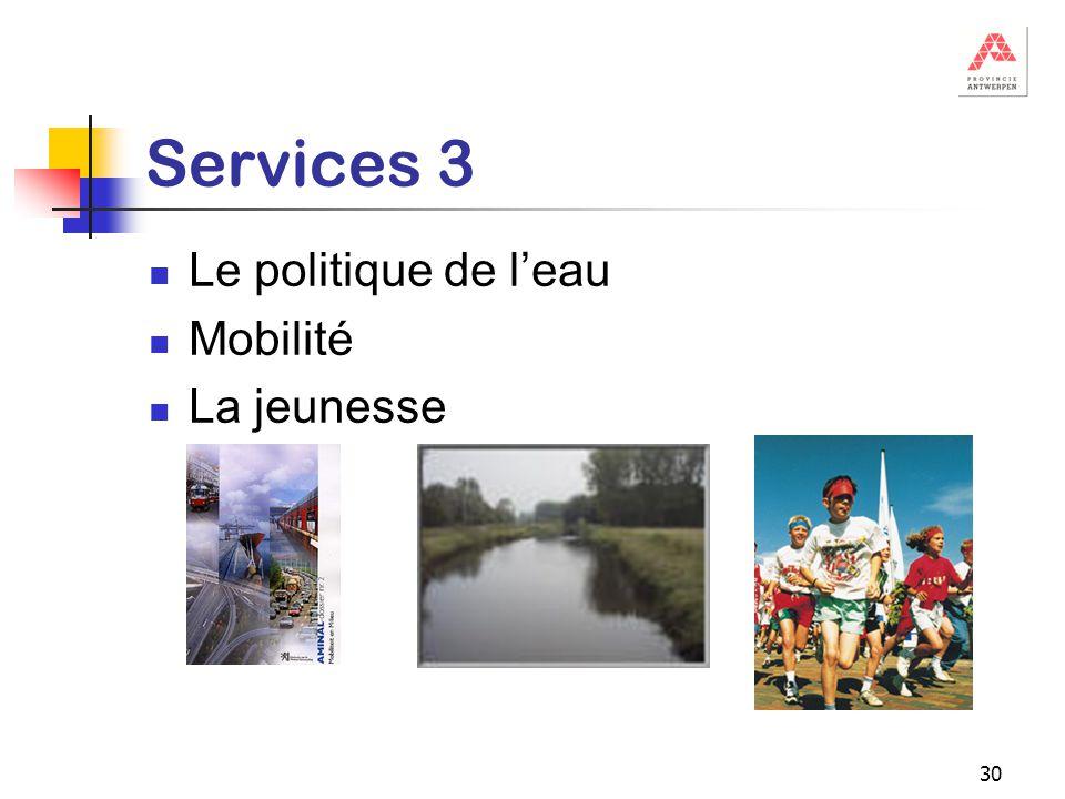 30 Services 3 Le politique de l'eau Mobilité La jeunesse