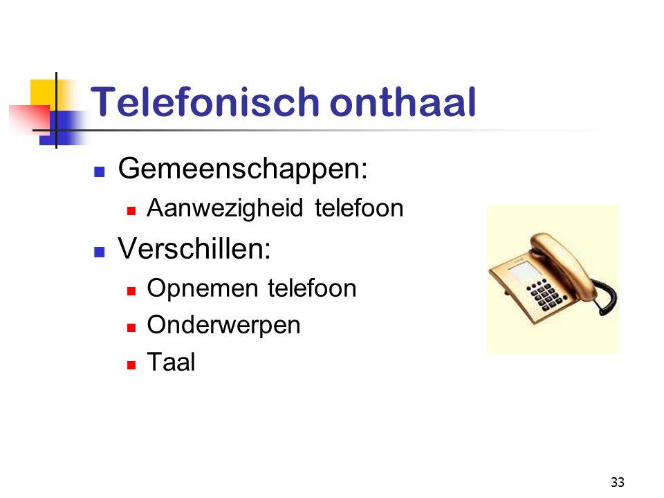33 Telefonisch onthaal Gemeenschappen: Aanwezigheid telefoon Verschillen: Opnemen telefoon Onderwerpen Taal