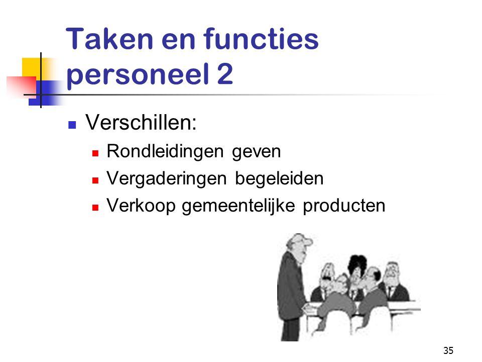 35 Taken en functies personeel 2 Verschillen: Rondleidingen geven Vergaderingen begeleiden Verkoop gemeentelijke producten