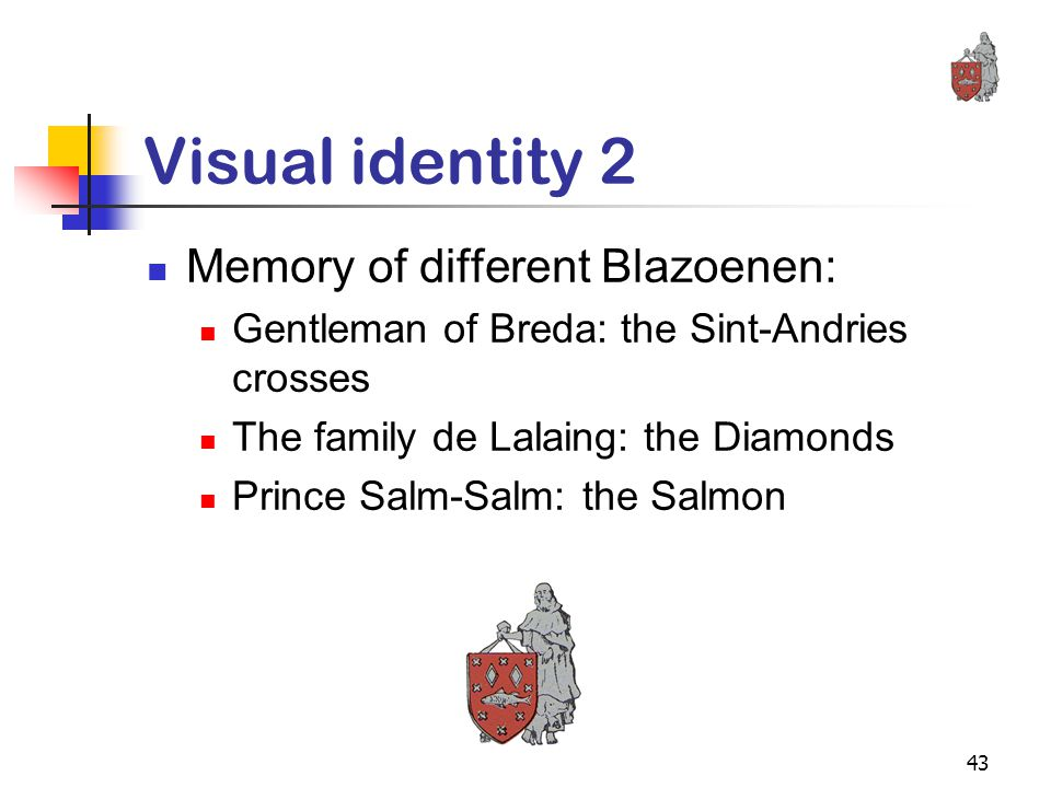 43 Visual identity 2 Memory of different Blazoenen: Gentleman of Breda: the Sint-Andries crosses The family de Lalaing: the Diamonds Prince Salm-Salm: the Salmon