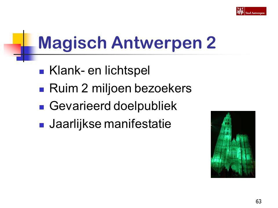 63 Magisch Antwerpen 2 Klank- en lichtspel Ruim 2 miljoen bezoekers Gevarieerd doelpubliek Jaarlijkse manifestatie