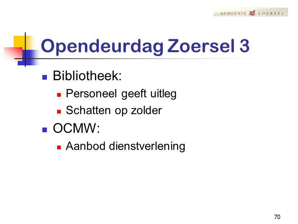 70 Opendeurdag Zoersel 3 Bibliotheek: Personeel geeft uitleg Schatten op zolder OCMW: Aanbod dienstverlening