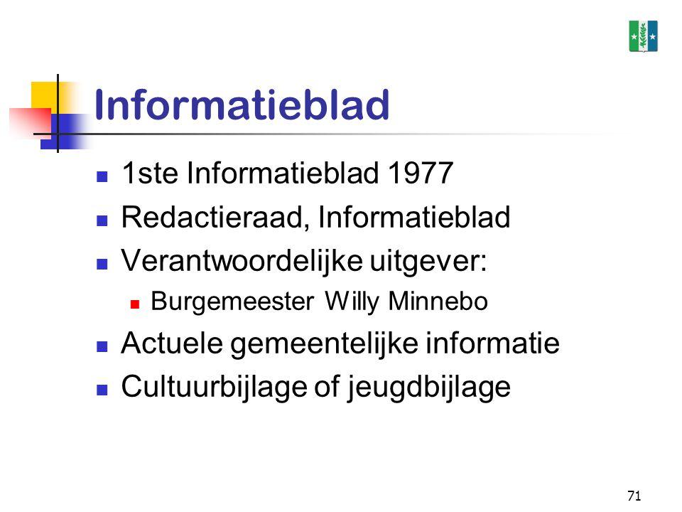 71 Informatieblad 1ste Informatieblad 1977 Redactieraad, Informatieblad Verantwoordelijke uitgever: Burgemeester Willy Minnebo Actuele gemeentelijke i