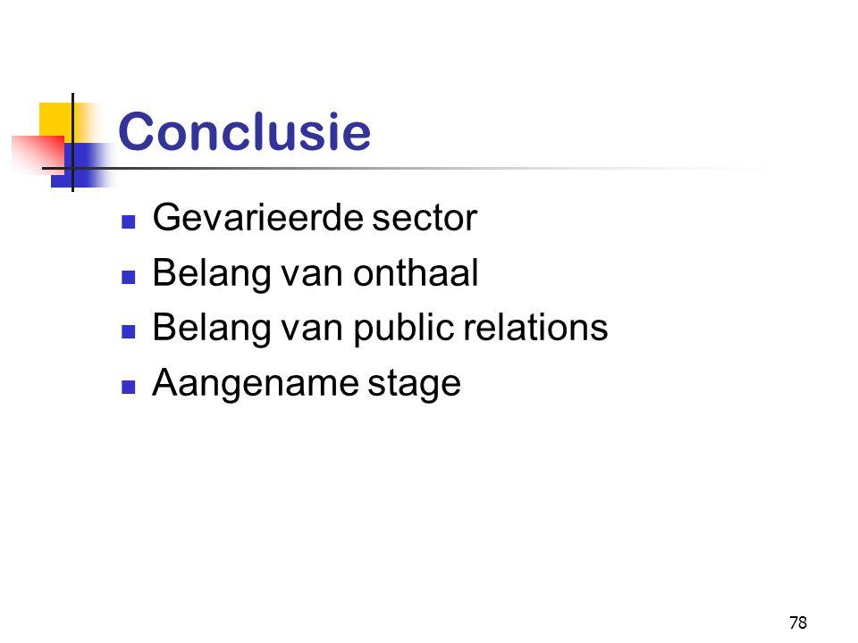 78 Conclusie Gevarieerde sector Belang van onthaal Belang van public relations Aangename stage