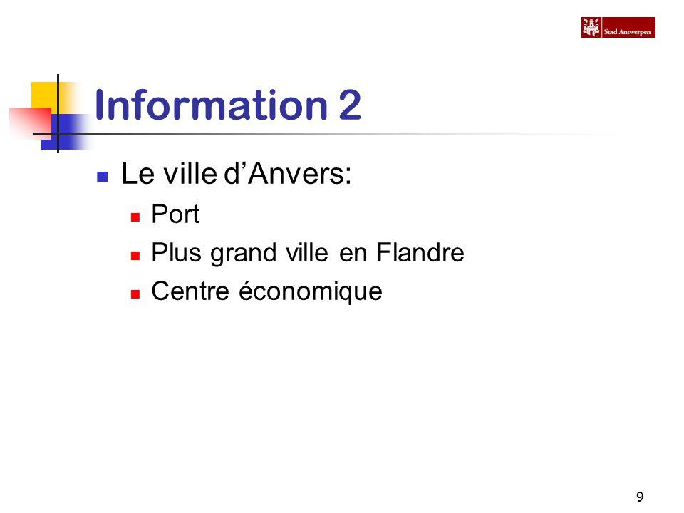 9 Information 2 Le ville d'Anvers: Port Plus grand ville en Flandre Centre économique