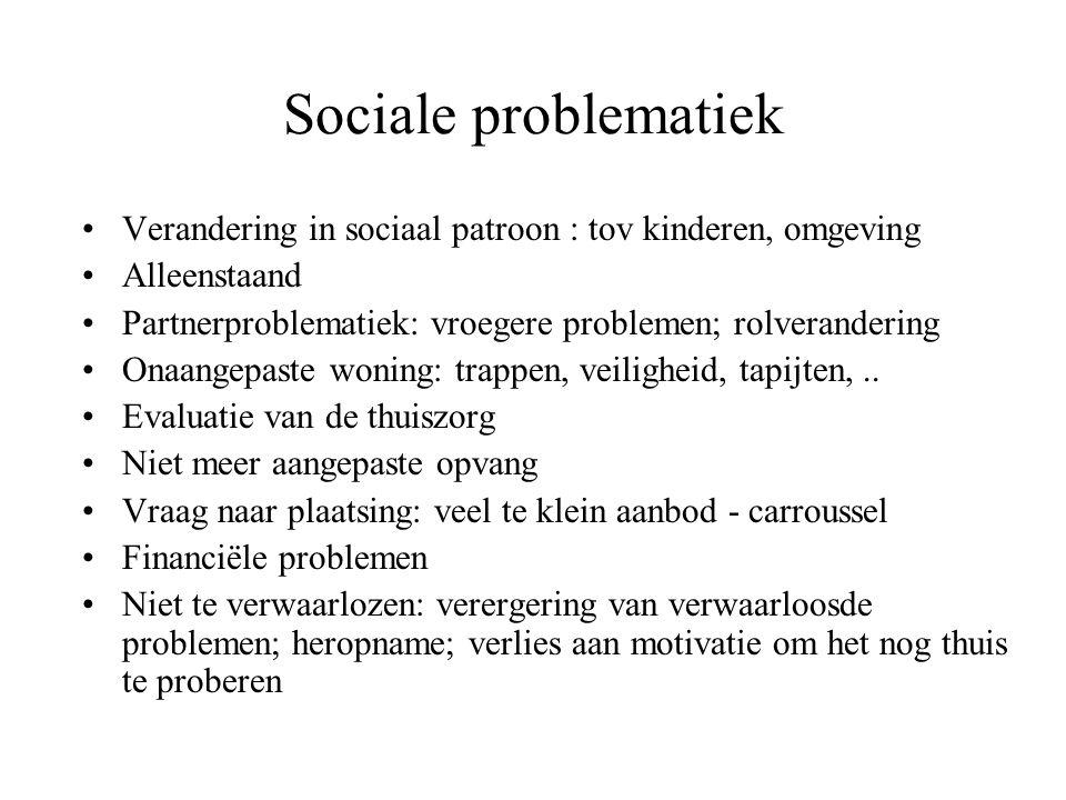 Sociale problematiek Verandering in sociaal patroon : tov kinderen, omgeving Alleenstaand Partnerproblematiek: vroegere problemen; rolverandering Onaa