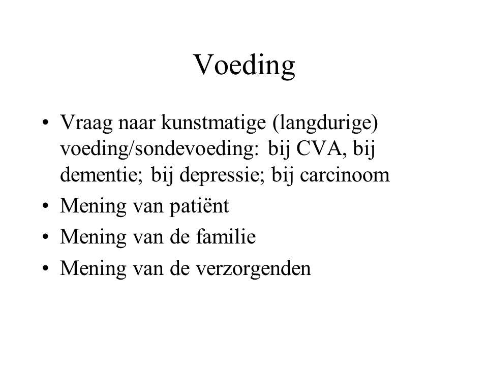 Voeding Vraag naar kunstmatige (langdurige) voeding/sondevoeding: bij CVA, bij dementie; bij depressie; bij carcinoom Mening van patiënt Mening van de