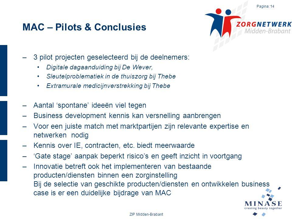 MAC – Pilots & Conclusies ZIP Midden-Brabant Pagina: 14 –3 pilot projecten geselecteerd bij de deelnemers: Digitale dagaanduiding bij De Wever, Sleute