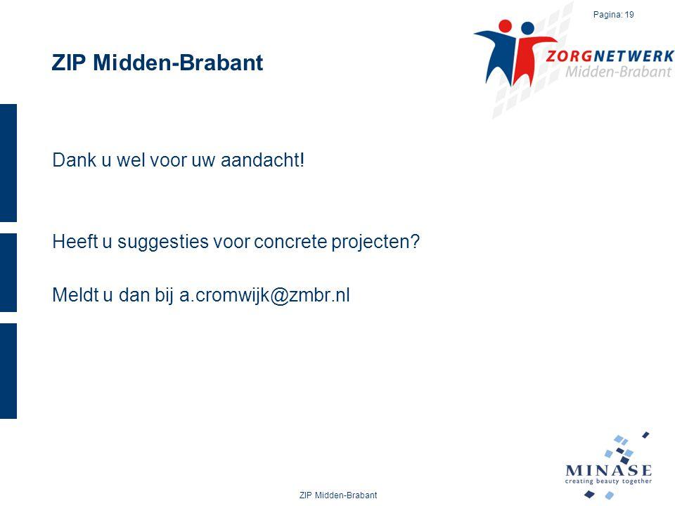 ZIP Midden-Brabant Dank u wel voor uw aandacht! Heeft u suggesties voor concrete projecten? Meldt u dan bij a.cromwijk@zmbr.nl ZIP Midden-Brabant Pagi