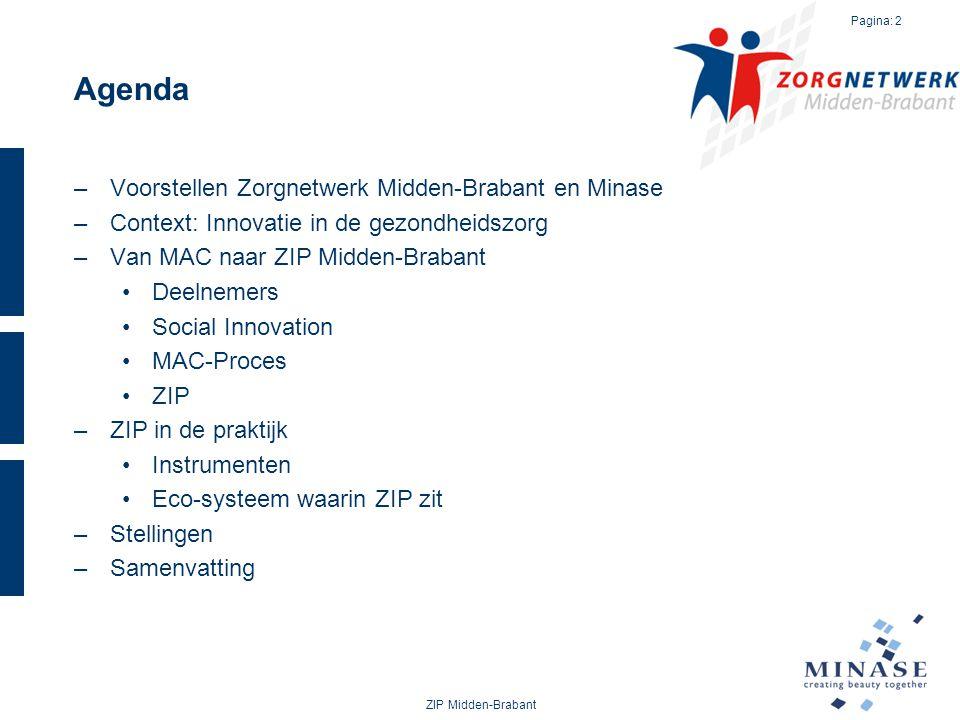 Agenda –Voorstellen Zorgnetwerk Midden-Brabant en Minase –Context: Innovatie in de gezondheidszorg –Van MAC naar ZIP Midden-Brabant Deelnemers Social