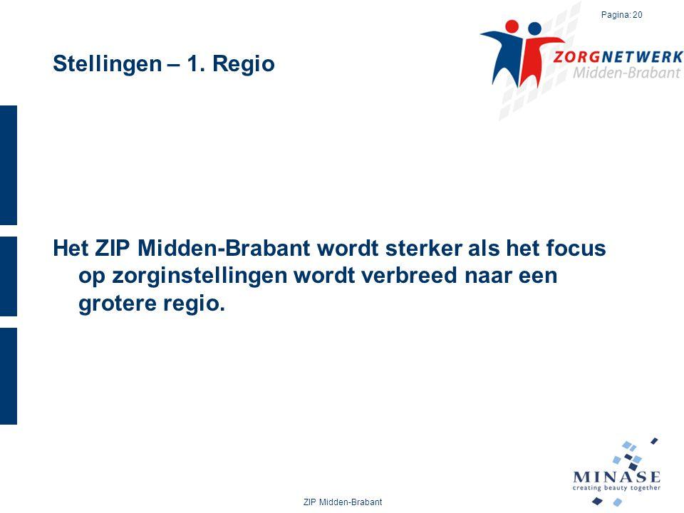 Stellingen – 1. Regio Het ZIP Midden-Brabant wordt sterker als het focus op zorginstellingen wordt verbreed naar een grotere regio. ZIP Midden-Brabant