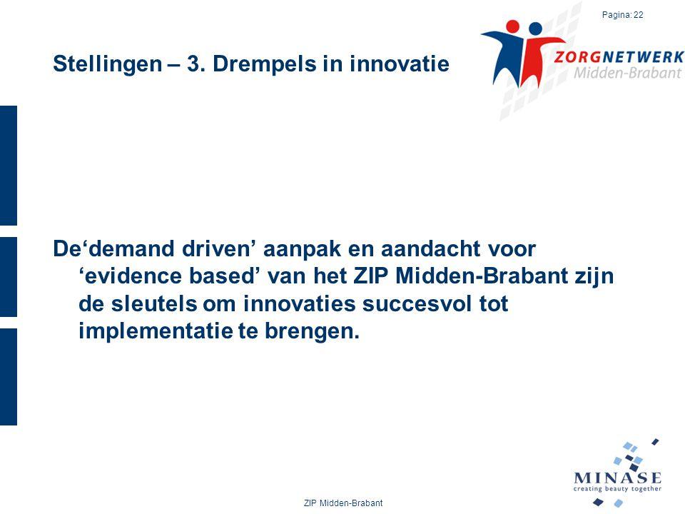 Stellingen – 3. Drempels in innovatie De'demand driven' aanpak en aandacht voor 'evidence based' van het ZIP Midden-Brabant zijn de sleutels om innova
