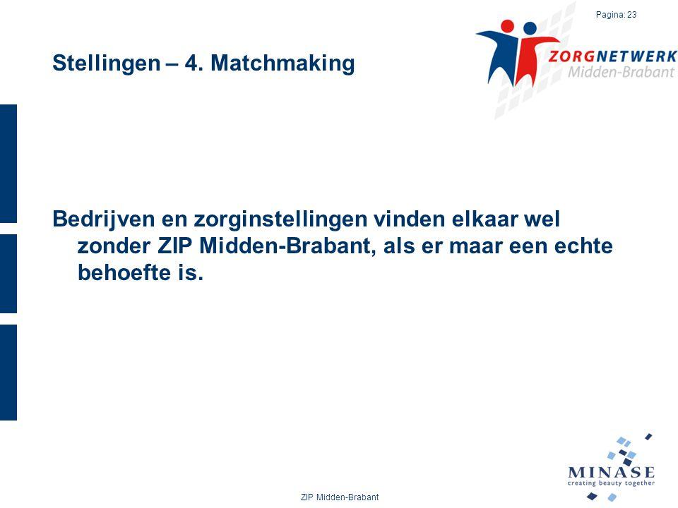 Stellingen – 4. Matchmaking Bedrijven en zorginstellingen vinden elkaar wel zonder ZIP Midden-Brabant, als er maar een echte behoefte is. ZIP Midden-B