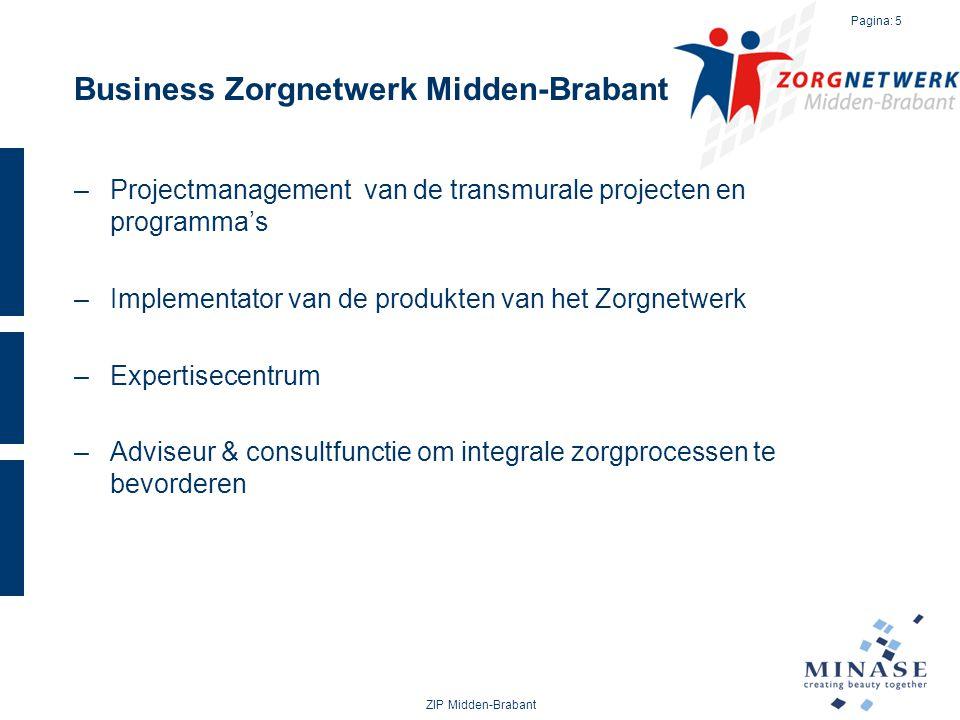 Business Zorgnetwerk Midden-Brabant –Projectmanagement van de transmurale projecten en programma's –Implementator van de produkten van het Zorgnetwerk