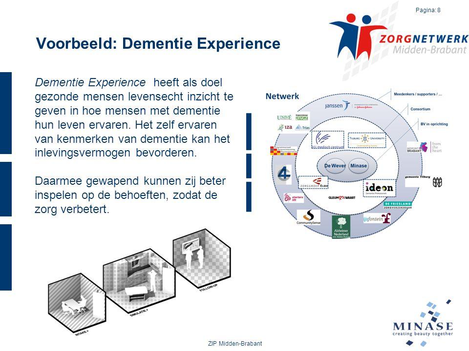 Voorbeeld: Dementie Experience ZIP Midden-Brabant Pagina: 8 Dementie Experience heeft als doel gezonde mensen levensecht inzicht te geven in hoe mense