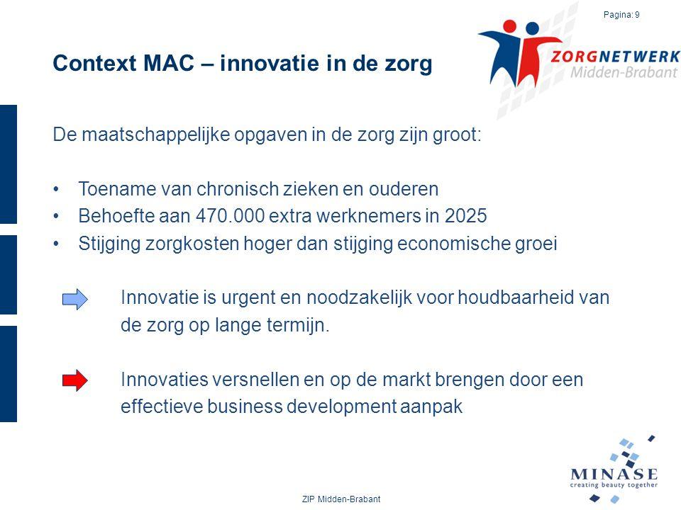 Context MAC – innovatie in de zorg De maatschappelijke opgaven in de zorg zijn groot: Toename van chronisch zieken en ouderen Behoefte aan 470.000 ext