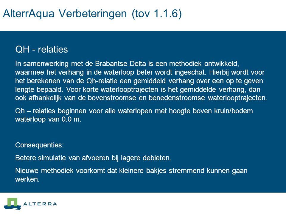 AlterrAqua Verbeteringen (tov 1.1.6) QH - relaties In samenwerking met de Brabantse Delta is een methodiek ontwikkeld, waarmee het verhang in de waterloop beter wordt ingeschat.