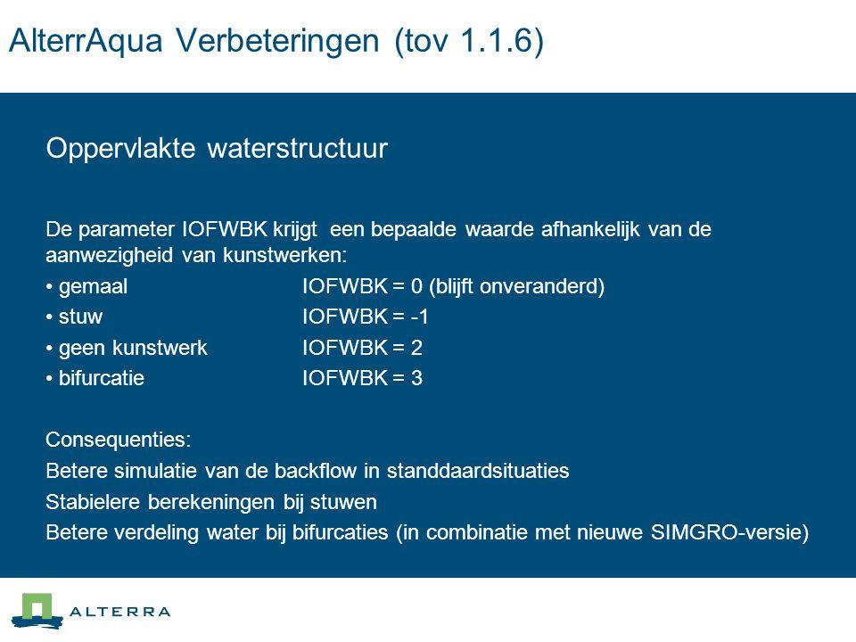 AlterrAqua Verbeteringen (tov 1.1.6) Oppervlakte waterstructuur De parameter IOFWBK krijgt een bepaalde waarde afhankelijk van de aanwezigheid van kunstwerken: gemaal IOFWBK = 0 (blijft onveranderd) stuw IOFWBK = -1 geen kunstwerk IOFWBK = 2 bifurcatie IOFWBK = 3 Consequenties: Betere simulatie van de backflow in standdaardsituaties Stabielere berekeningen bij stuwen Betere verdeling water bij bifurcaties (in combinatie met nieuwe SIMGRO-versie)