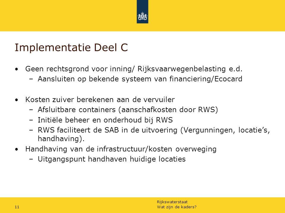 Rijkswaterstaat Wat zijn de kaders 11 Implementatie Deel C Geen rechtsgrond voor inning/ Rijksvaarwegenbelasting e.d.