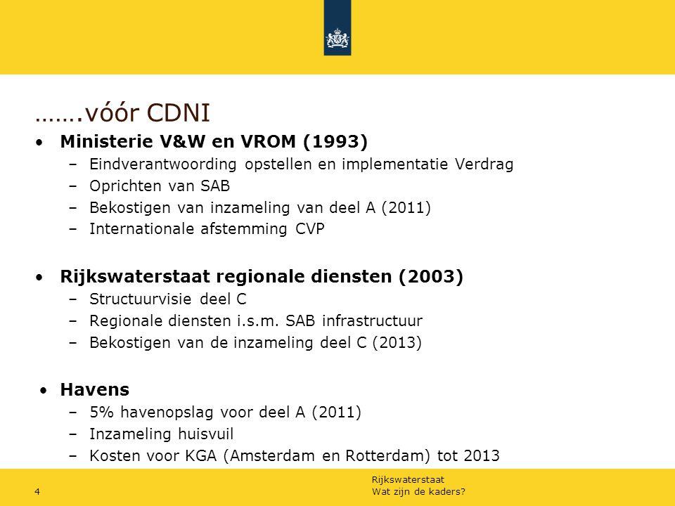 Rijkswaterstaat Wat zijn de kaders?4 …….vóór CDNI Ministerie V&W en VROM (1993) –Eindverantwoording opstellen en implementatie Verdrag –Oprichten van