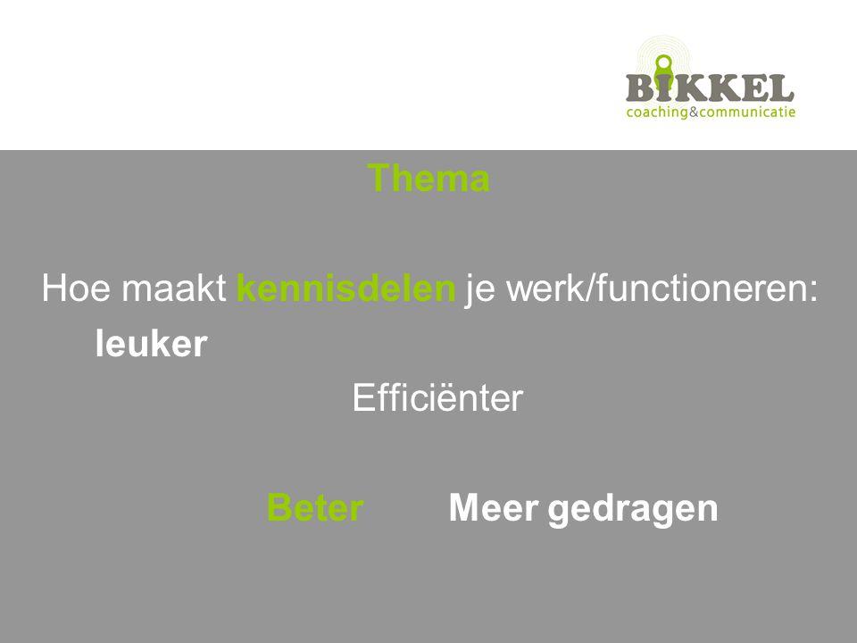 Thema Hoe maakt kennisdelen je werk/functioneren: leuker Efficiënter Beter Meer gedragen