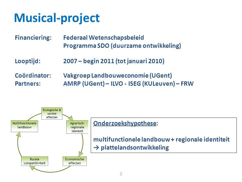 Musical-project 2 Coördinator:Vakgroep Landbouweconomie (UGent) Partners: AMRP (UGent) – ILVO - ISEG (KULeuven) – FRW Financiering: Federaal Wetenschapsbeleid Programma SDO (duurzame ontwikkeling) Looptijd: 2007 – begin 2011 (tot januari 2010) Onderzoekshypothese: multifunctionele landbouw + regionale identiteit → plattelandsontwikkeling
