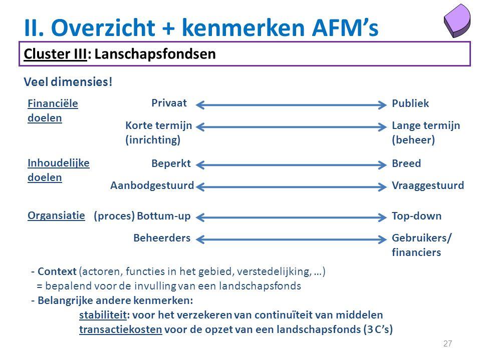 27 II. Overzicht + kenmerken AFM's Cluster III: Lanschapsfondsen Veel dimensies.