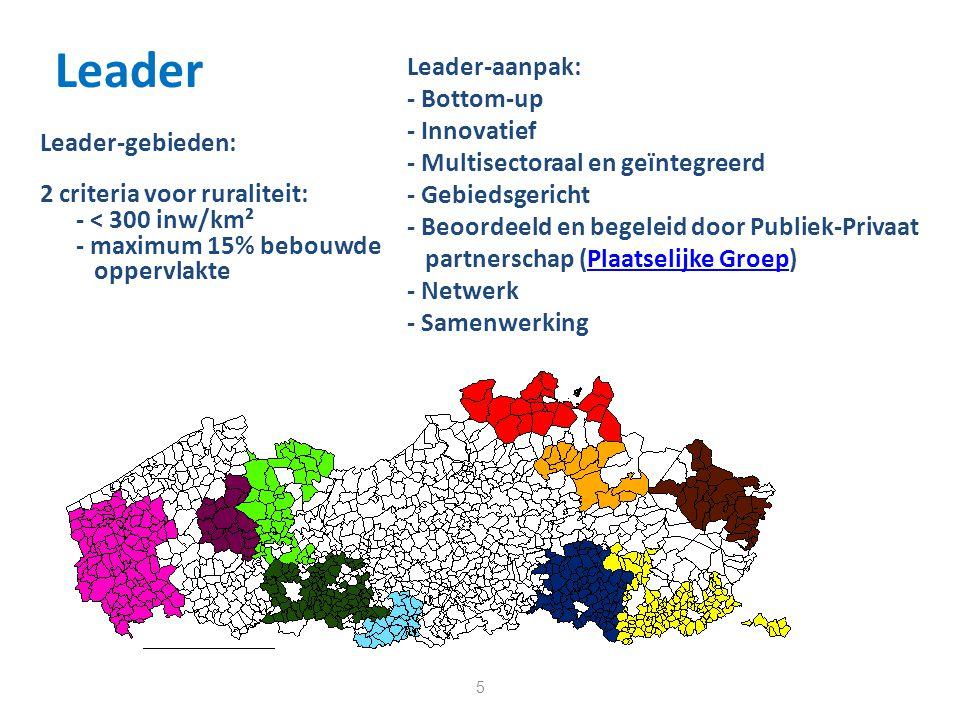Leader 5 Leader-gebieden: 2 criteria voor ruraliteit: - < 300 inw/km² - maximum 15% bebouwde oppervlakte Leader-aanpak: - Bottom-up - Innovatief - Multisectoraal en geïntegreerd - Gebiedsgericht - Beoordeeld en begeleid door Publiek-Privaat partnerschap (Plaatselijke Groep)Plaatselijke Groep - Netwerk - Samenwerking