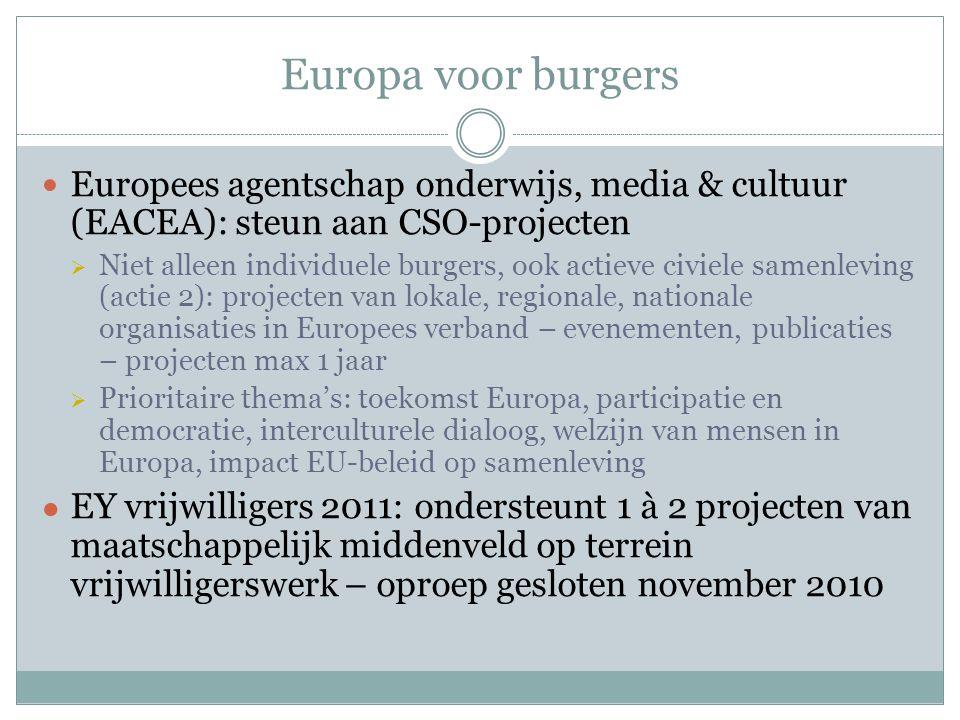 Europa voor burgers Europees agentschap onderwijs, media & cultuur (EACEA): steun aan CSO-projecten  Niet alleen individuele burgers, ook actieve civiele samenleving (actie 2): projecten van lokale, regionale, nationale organisaties in Europees verband – evenementen, publicaties – projecten max 1 jaar  Prioritaire thema's: toekomst Europa, participatie en democratie, interculturele dialoog, welzijn van mensen in Europa, impact EU-beleid op samenleving ● EY vrijwilligers 2011: ondersteunt 1 à 2 projecten van maatschappelijk middenveld op terrein vrijwilligerswerk – oproep gesloten november 2010