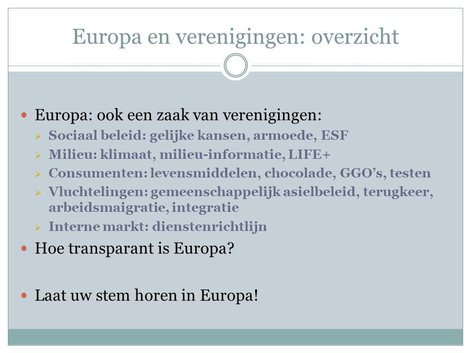 Europa en verenigingen: overzicht Europa: ook een zaak van verenigingen:  Sociaal beleid: gelijke kansen, armoede, ESF  Milieu: klimaat, milieu-informatie, LIFE+  Consumenten: levensmiddelen, chocolade, GGO's, testen  Vluchtelingen: gemeenschappelijk asielbeleid, terugkeer, arbeidsmaigratie, integratie  Interne markt: dienstenrichtlijn Hoe transparant is Europa.
