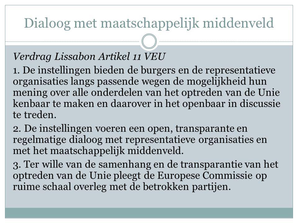 Dialoog met maatschappelijk middenveld Verdrag Lissabon Artikel 11 VEU 1.