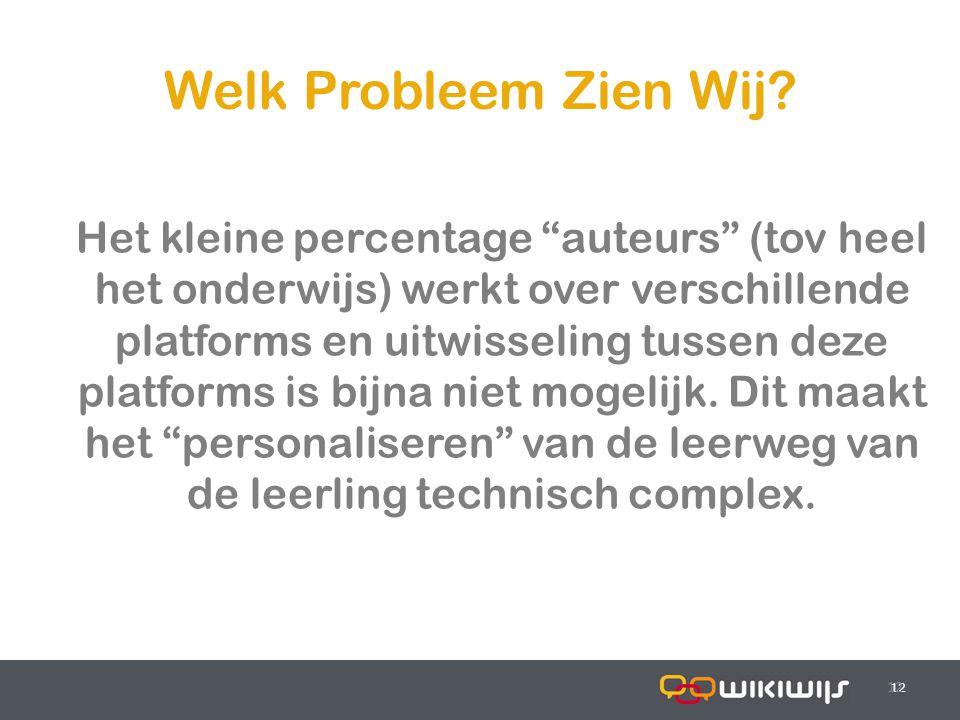 """17-7-201412 Welk Probleem Zien Wij? 12 Het kleine percentage """"auteurs"""" (tov heel het onderwijs) werkt over verschillende platforms en uitwisseling tus"""