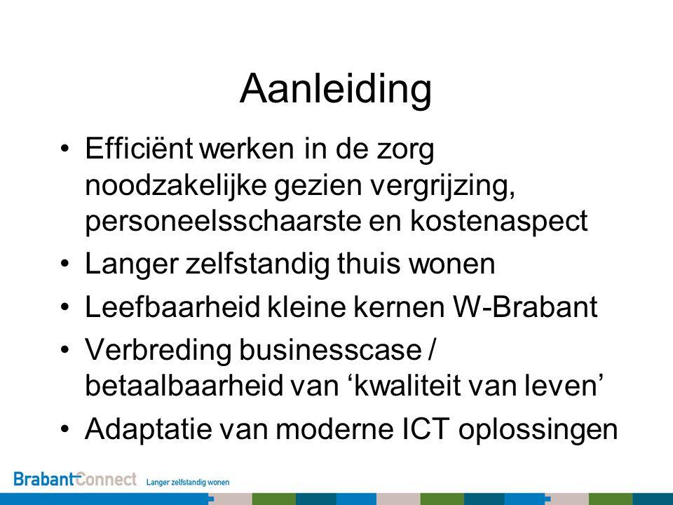 Aanleiding Efficiënt werken in de zorg noodzakelijke gezien vergrijzing, personeelsschaarste en kostenaspect Langer zelfstandig thuis wonen Leefbaarheid kleine kernen W-Brabant Verbreding businesscase / betaalbaarheid van 'kwaliteit van leven' Adaptatie van moderne ICT oplossingen