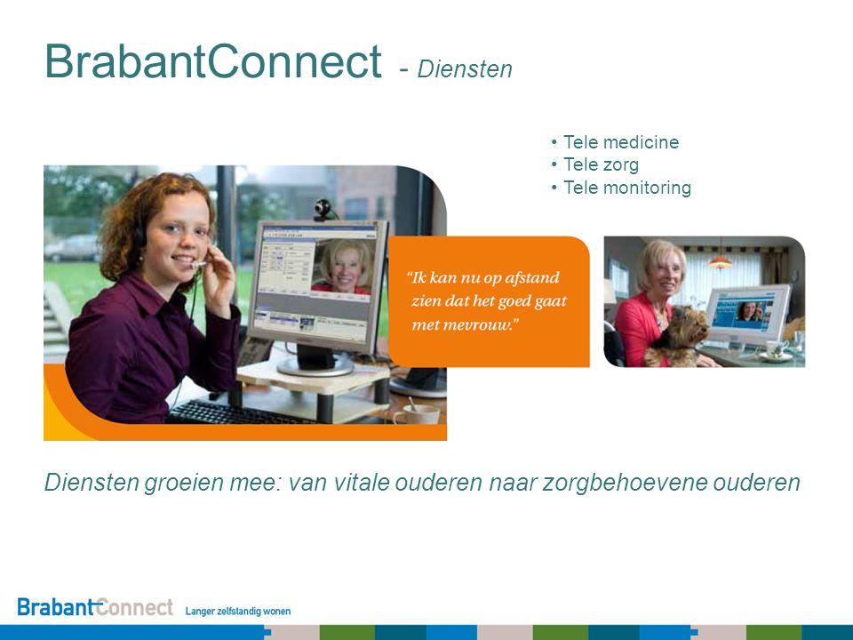 BrabantConnect - Diensten Tele medicine Tele zorg Tele monitoring Diensten groeien mee: van vitale ouderen naar zorgbehoevene ouderen
