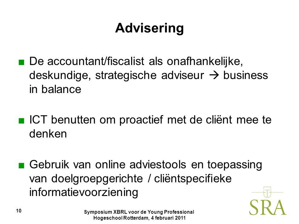 Symposium XBRL voor de Young Professional Hogeschool Rotterdam, 4 februari 2011 10 Advisering ■De accountant/fiscalist als onafhankelijke, deskundige,