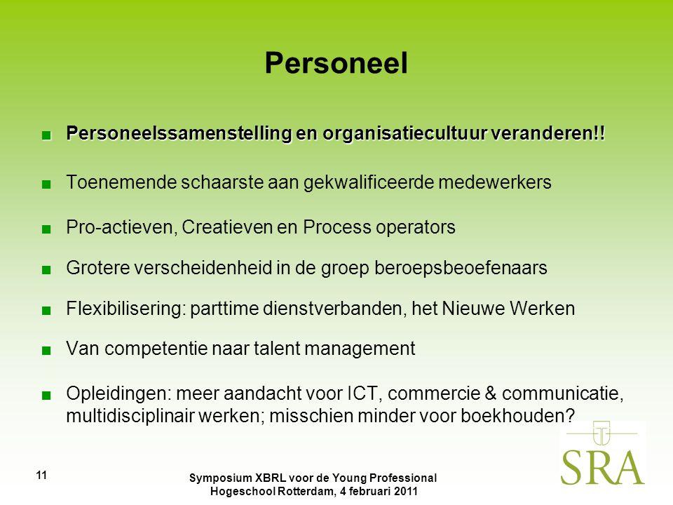 Symposium XBRL voor de Young Professional Hogeschool Rotterdam, 4 februari 2011 11 Personeel ■Personeelssamenstelling en organisatiecultuur veranderen