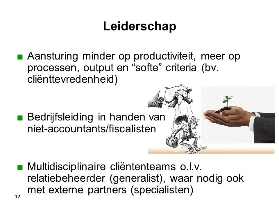 """12 Leiderschap ■Aansturing minder op productiviteit, meer op processen, output en """"softe"""" criteria (bv. cliënttevredenheid) ■Bedrijfsleiding in handen"""