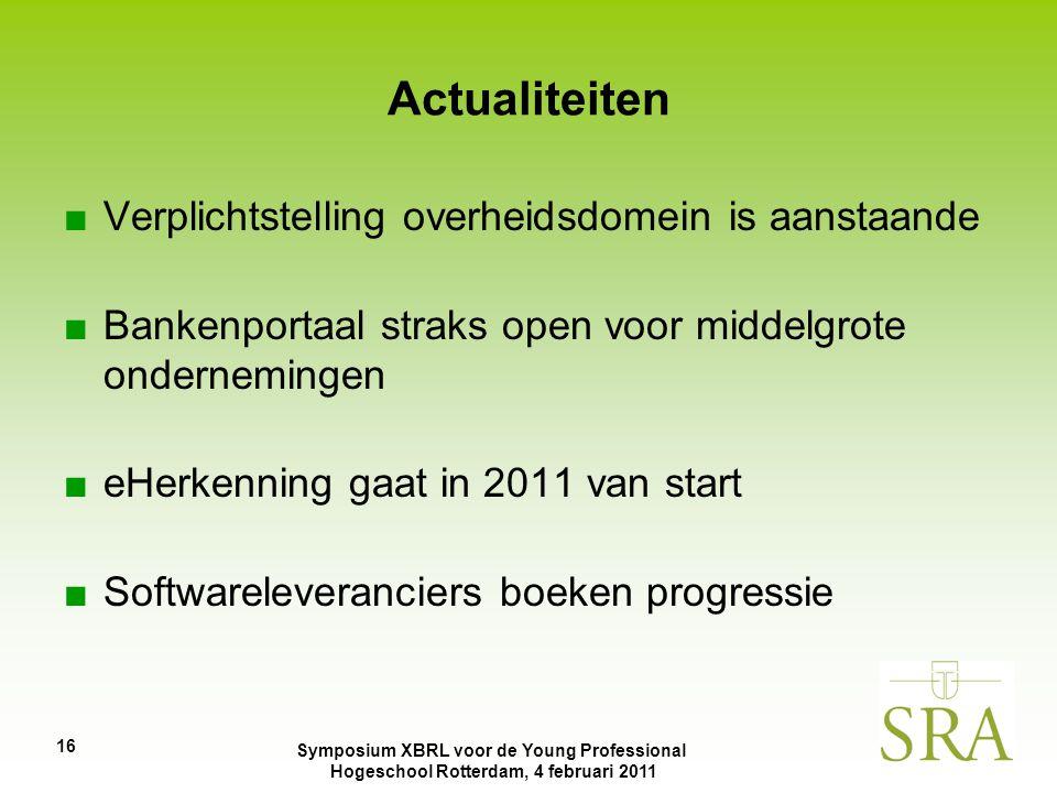 Symposium XBRL voor de Young Professional Hogeschool Rotterdam, 4 februari 2011 ■Verplichtstelling overheidsdomein is aanstaande ■Bankenportaal straks