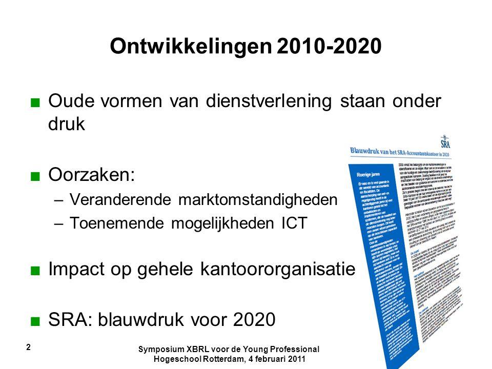 Symposium XBRL voor de Young Professional Hogeschool Rotterdam, 4 februari 2011 2 Ontwikkelingen 2010-2020 ■Oude vormen van dienstverlening staan onde