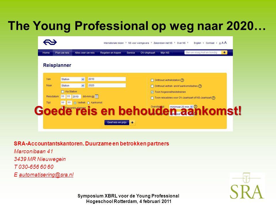 Symposium XBRL voor de Young Professional Hogeschool Rotterdam, 4 februari 2011 The Young Professional op weg naar 2020… SRA-Accountantskantoren. Duur
