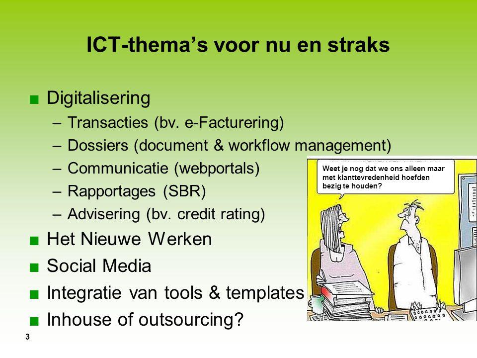 Weet je nog dat we ons alleen maar met klanttevredenheid hoefden bezig te houden? 3 ICT-thema's voor nu en straks ■Digitalisering –Transacties (bv. e-