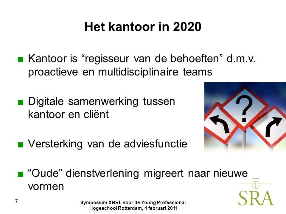 """Symposium XBRL voor de Young Professional Hogeschool Rotterdam, 4 februari 2011 7 Het kantoor in 2020 ■Kantoor is """"regisseur van de behoeften"""" d.m.v."""