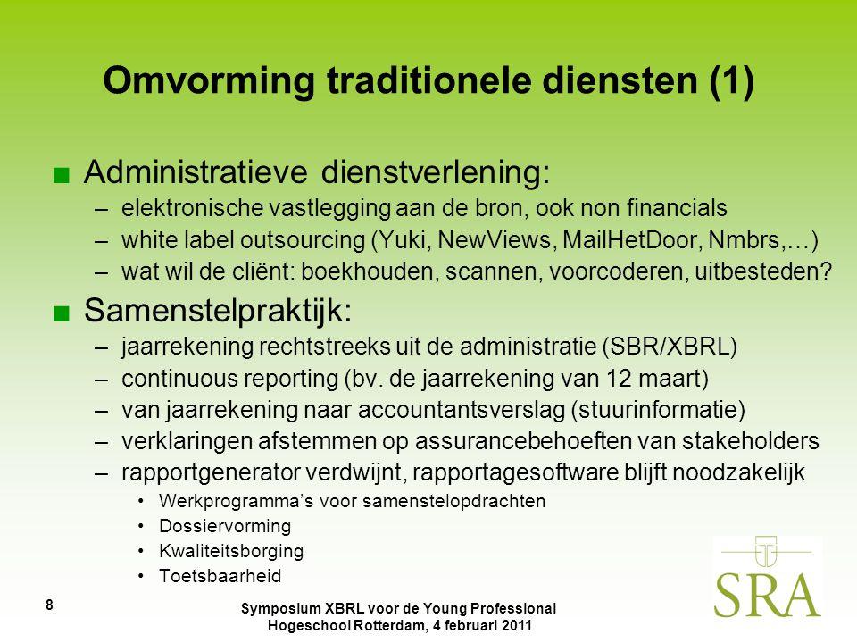 Symposium XBRL voor de Young Professional Hogeschool Rotterdam, 4 februari 2011 9 Omvorming traditionele diensten ■Aangiftepraktijk: –vooringevulde aangiften –structureel vooroverleg met Belastingdienst (Horizontaal Toezicht) –nog meer accent op advies –aangiftesoftware is meer dan aangiftegenerator: bv.