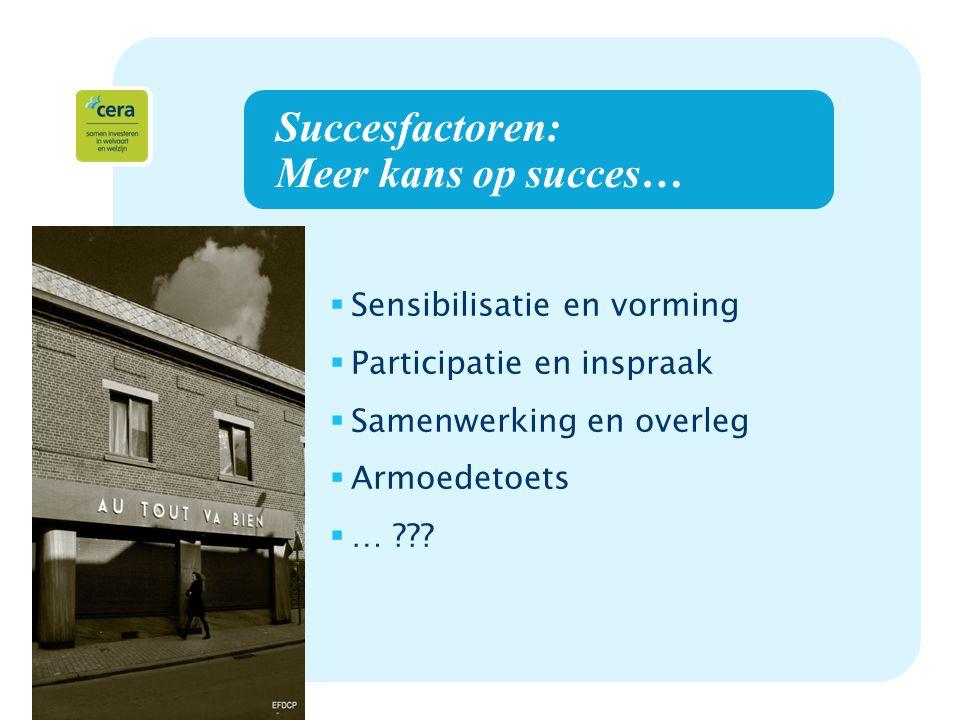 12 Succesfactoren: Meer kans op succes…  Sensibilisatie en vorming  Participatie en inspraak  Samenwerking en overleg  Armoedetoets  … ???